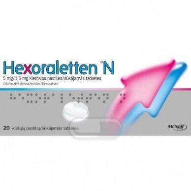 Hexoraletten N 5 mg/1,5 mg kietosios pastilės N20