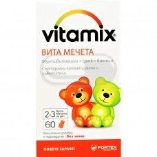 """Maisto papildas Vitamiks """"Vita Meškiukai"""", 60 kramtomų meškiukų formos guminukų po 1200 mgVITAMIX VITA MEŠKIUKAI (vitaminai vaikams) guminukai N60"""