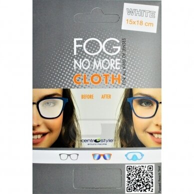 Mikrofibros servetėlė NO FOG 15x18 cm, apsauganti akinių lęšius nuo rasojimo