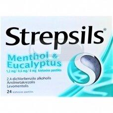 Strepsils Menthol & Eucalyptus 1,2 mg/0,6 mg/8 mg kietosios pastilės N24